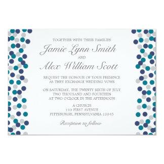 Türkis-Marine-graue Tupfen-Hochzeits-Einladung Karte