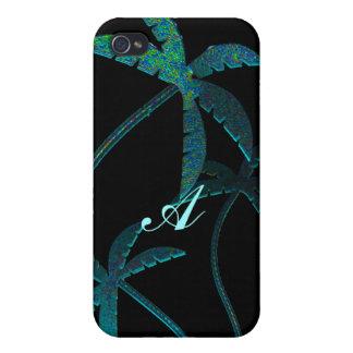 Türkis-Opalschein-Palmen auf Schwarzem 4 iPhone 4 Etui