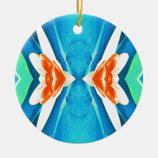 Türkis-Pfirsich-abstrakte Schmetterlings-Form Rundes Keramik Ornament