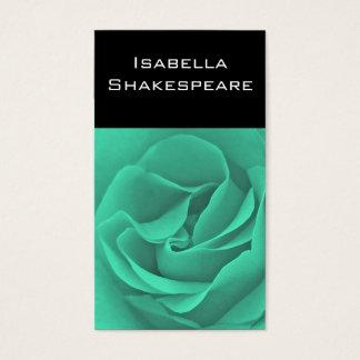 Türkis-Rose auf Schwarzem Visitenkarten