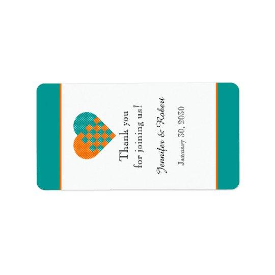 Türkis und orange Herz-Lippenbalsam-Aufkleber Adressaufkleber
