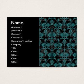 Türkis und schwarzer Damast Visitenkarte