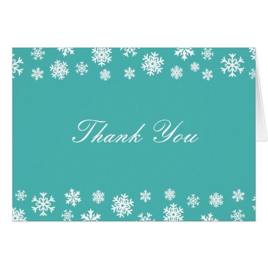 Türkis und weiße Schneeflocken danken Ihnen zu Mitteilungskarte