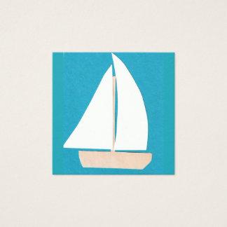 Türkis-Visitenkarte mit Segelboot Quadratische Visitenkarte