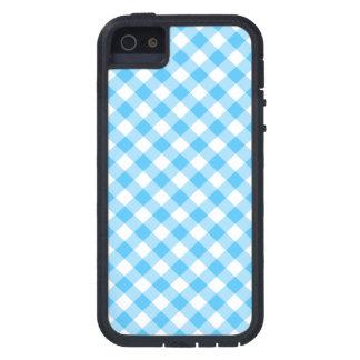 Türkis-Weiß-Gingham iPhone 5 Etui