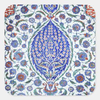 Türkische Blumenfliesen Quadrataufkleber