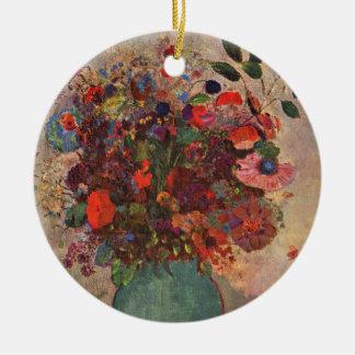 Türkischer Vase, Odilon Redon, Vintage Blumen mit Rundes Keramik Ornament
