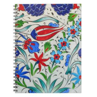 Türkisches Blumenmuster Spiral Notizblock