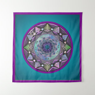 Türkislila keltische Mandala-Wand-Tapisserie Wandteppich
