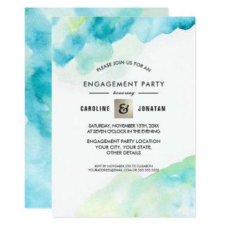 Türkiswatercolor-Verlobungs-Party Einladungen
