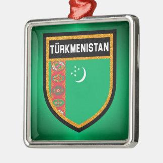 Turkmenistan-Flagge Quadratisches Silberfarbenes Ornament