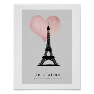 Turm Paris Eiffel mit Rosen-Goldherzen Je T'aime Poster