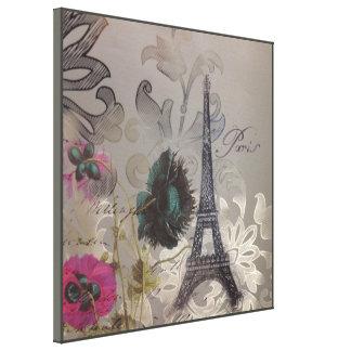 Turm Shabby Chic-Blumen-Wirbelsparis Eiffel Leinwanddruck