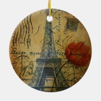 Turm-Shabby Chicmohnblumen-Blume Paris Eiffel Rundes Keramik Ornament