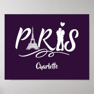 Turm-super cooles personalisiertes Liebe-Paris Poster