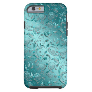 Turquoise brillante de Paisley Coque Tough iPhone 6
