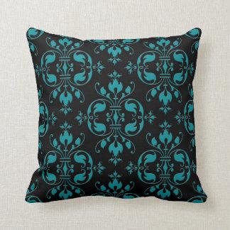 Turquoise de fantaisie au-dessus de damassé noire oreiller
