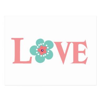 Turquoise et amour rose de fleur carte postale
