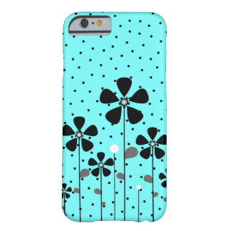 Turquoise et fleurs noires coque iPhone 6 barely there