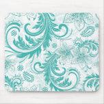 Turquoise et rétros fleurs blanches et conception  tapis de souris