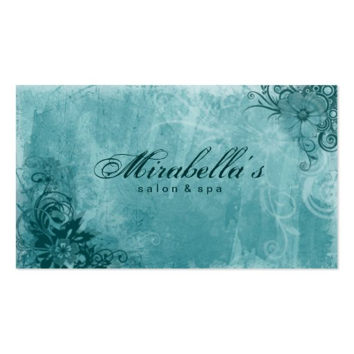 Turquoise florale de grunge de carte de visite de