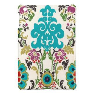 Turquoise florale de prune de motifs de damassé coque pour iPad mini