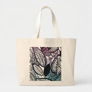 Turquoise rose florale tropicale de croquis de sac en toile jumbo