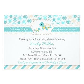 Turtle Baby Shower Invitation Unisex Teal 12,7 X 17,8 Cm Einladungskarte