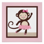 Tutu mignon/art de mur d'affiche de fille singe de