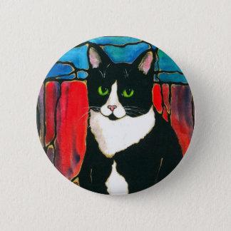 Tuxedo-Katzen-beflecktes Glas-Entwurfs-Kunst-T - Runder Button 5,1 Cm