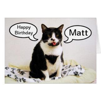Tuxedo-Katzen-Geburtstags-Matt-Spaß-Karte Grußkarte