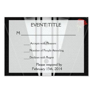 Tuxedo mit Bogen-Krawatten-Monogramm 8,9 X 12,7 Cm Einladungskarte
