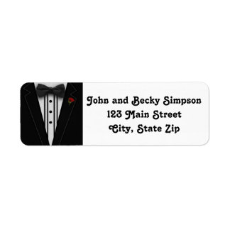 Tuxedo mit Bogen-Krawatten-Monogramm Rückversand-Adressaufkleber