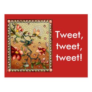 Tweeten Sie tweeten tweeten Postkarte