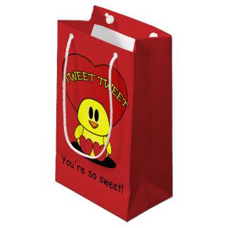 Tweeten süßer kleine das Kükenvalentine-rote Herz Kleine Geschenktüte