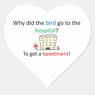 Tweetment Witz Herz-Aufkleber