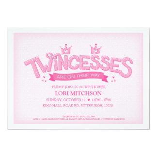 Twincess Doppelmädchen-Babyparty-Einladung (Rosa) Karte