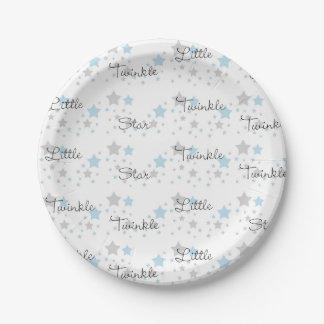 Twinkle wenig Stern-blaues Grau-grauer Pappteller