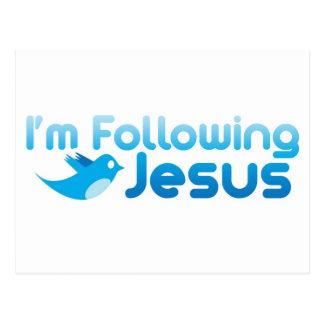 Twitter ich folge ich Jesus Christus Postkarte