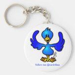 Twittering Blau Vogel Standard Runder Schlüsselanhänger