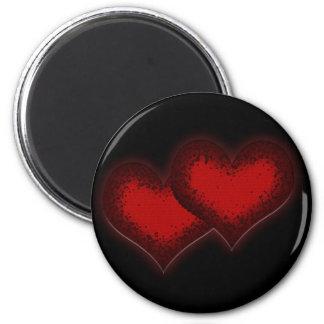 Two hearts valentines day design round magnets runder magnet 5,7 cm