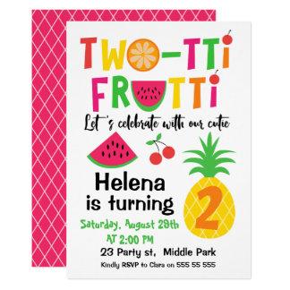Two-tti Frutti 2. Geburtstags-Einladung für Karte