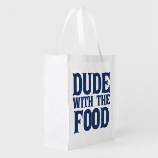 Typ mit der Nahrung Wiederverwendbare Einkaufstasche
