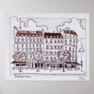 Typischer Haussmann   Boulevard Montparnasse, Poster