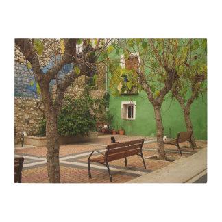 Typischer Platz in einem spanischen Volk Holzleinwand