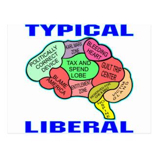 Typisches liberales sozialistisches Gehirn Postkarte