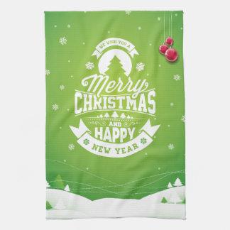 Typografie der frohen Weihnachten und des guten Geschirrtuch