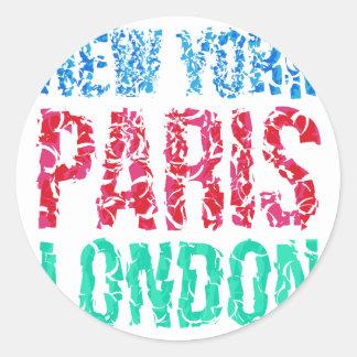 Typografie Hauptstadts-New York Paris London, T - Runder Aufkleber