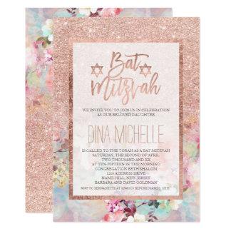 Typografie-Rosengoldblumenwatercolor Schläger 12,7 X 17,8 Cm Einladungskarte