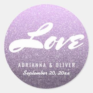 Typographie lunatique d'amour de mariage de sticker rond